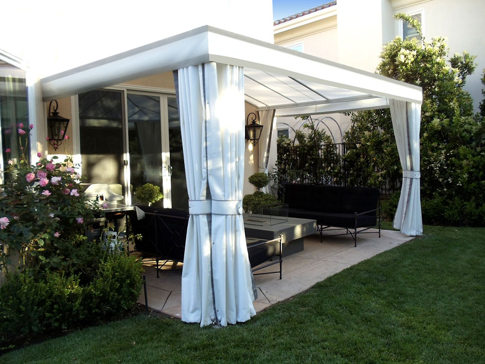 outdoor curtains drapes and roller shades superior awning. Black Bedroom Furniture Sets. Home Design Ideas
