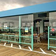 Restaurant Patio Cover with Clear Shades