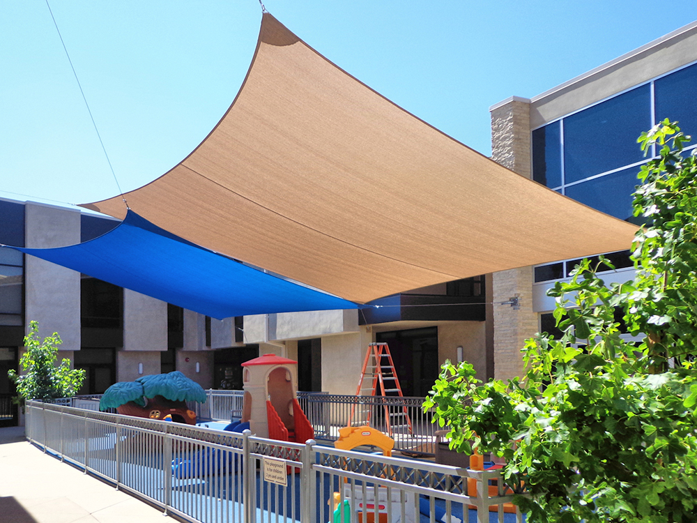 awning commercial fabric sails posts durable shade grade awnings steel sail